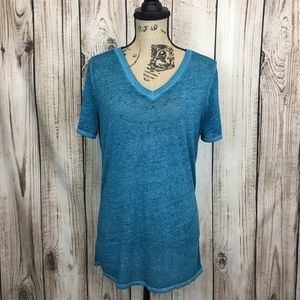 VS PINK Teal Sheer Knit Top Shirt Vneck Medium
